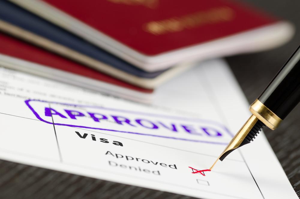 Visa application close up