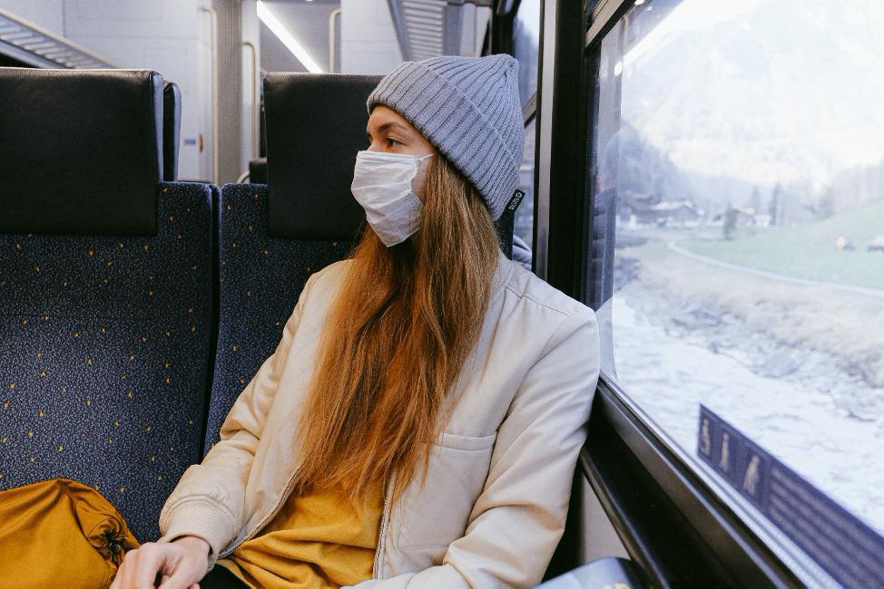 Traveler with sickness mask